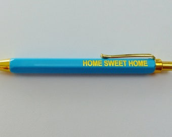 1 pencil ball writing pen ink blue Home Sweet Home Blue and gold