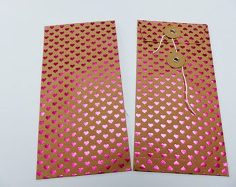 1 envelope rectangular clutch shiny red heart and kraft Japanese closure