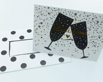 Gold bubble champagne congratulation card