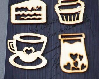 cake 8 tea coffee cupcake wooden embellishments