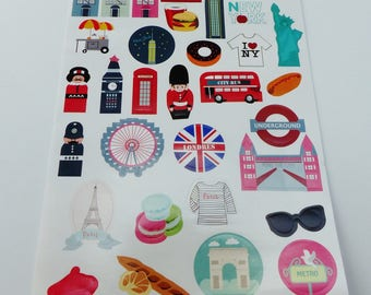 sheet of 32 stickers new york paris London
