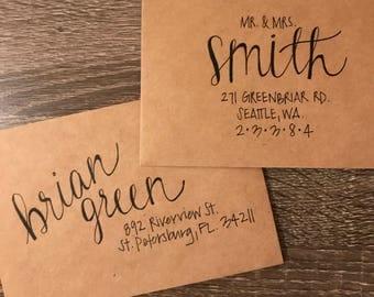 Custom Addressed Envelopes, Wedding Invitations, Hand Lettered Envelopes