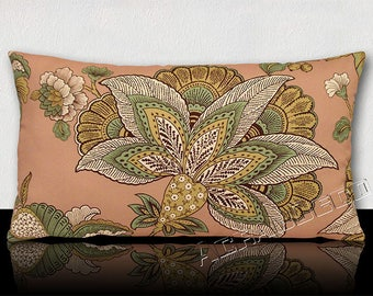 "Pillow DESIGNER M.C. ""BAYONNE"" - stylized exotic flowers meadow Jade/white/green/brown on old background pink powder."