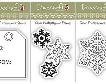SET 3 STAMPS CLEAR SNOWFLAKE SNOW HOLIDAY SCRAPBOOKING CARD SCRAP LABELS