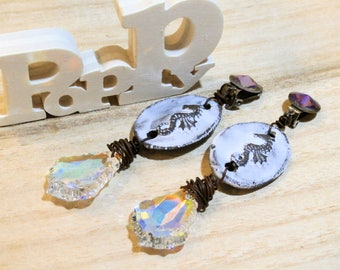 clips earrings seahorses - swarovski crystal and ceramic - for sea mermaids...
