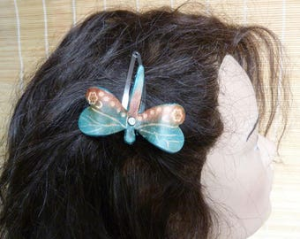 """Barrette """"Dragonfly"""" magical turquoise and brown leather"""