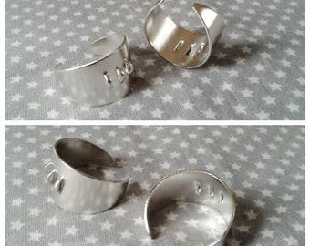 2 beautiful Adjustable ring support in brass plate, 3 rings, 17 mm