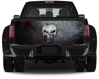 Truck Tailgate Graphics The Punisher Skull Vinyl Decal Color Sticker Trunk Wrap