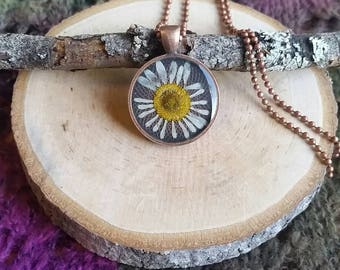 Real daisy flower pendant. Resin jewelry. Dried flower jewelry. Flower necklace.