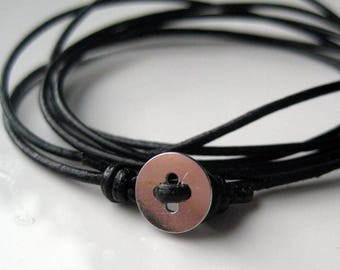 Leather bracelet and sterling silver personalized N3277
