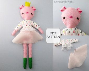 piglet sewing pattern, piglet pattern, felt piglet pattern, piglet pattern, fashion doll, sewing pattern, craft piglet pattern, piglet pdf