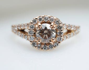 Fancy Brown Diamond Engagement Ring 14k Rose Gold