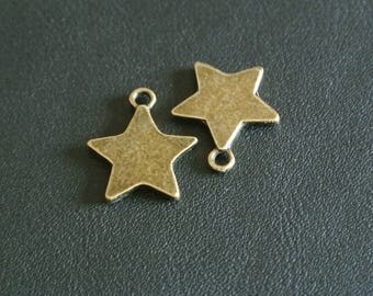 Set of six charms metal bronze star shaped, 19 x 17 x 3 mm hole to hang: 2 mm