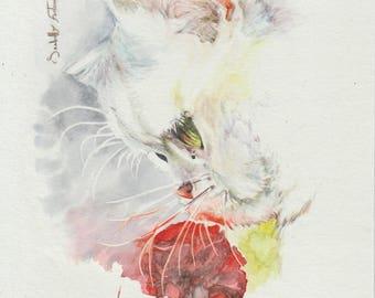 Watercolor cat yellow 13.5 X 21.5 cm