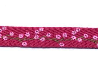 Pink Fuchsia fancy Twill ribbon flowers