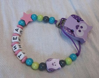 Purple and pink OWL theme pacifier