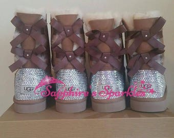 Custom Winter Snow Boots Sparkly Bling Silver Crystal Customised Bailey Bow Chestnut Ugg Boots
