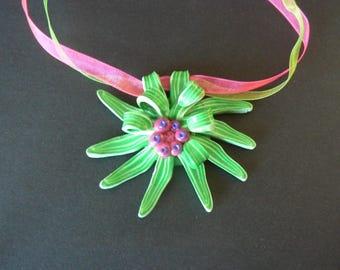 Exotic green flower pendant