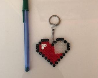 Key quarts heart hama beads