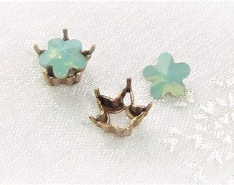 rhinestone swarovski crystal set, flower cabochon set 6 mm pacific opal swarovski crystal bead