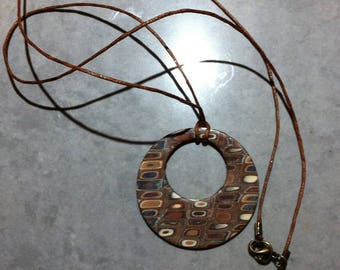 Vintage hollow polymer clay Medallion necklace