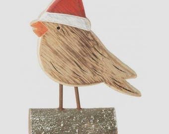 Adorable bird decoration, big enough 14 x 9 cm, with his Christmas hat.