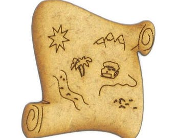 Cut out of MDF wood - small form: 3.3 x 3.3 cm treasure map.