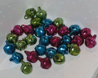 Lot 30 bells in metal multicolored mix of 1 cm