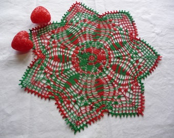 Handmade two-tone green red cotton crochet lace doily.
