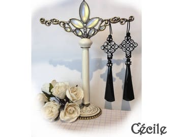 Victorian black Jet Cécile style girandole earrings