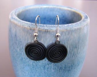 Black licorice small Stud Earrings