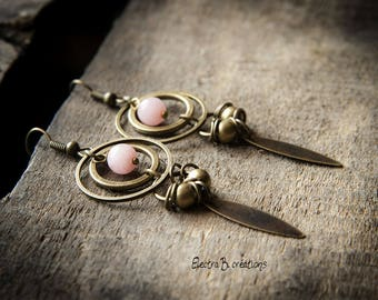 "Earrings ""Eponi"", powder pink jade and brass"