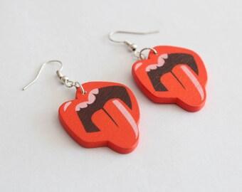 Wooden lips earrings