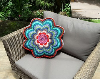 Colorful pillow, hand made, crochet, outdoors, decorative