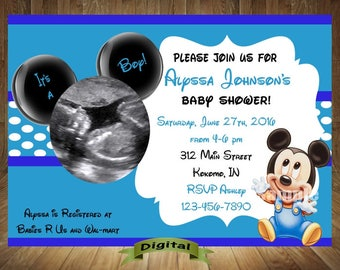 Mickey Mouse Baby Shower Invitation, Mickey Baby Shower Invitation, Mickey  Mouse Baby Shower,