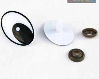 Set of 2 plastic safe eyes, black and white 35 * 24 mm for dolls, stuffed animals, toys, etc.