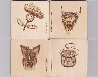 Wood Coaster Set - Wood Coasters - Highland Cow - Scottish Terrier - Sporran - Thistle - Wooden Coasters - LouLongworthDesigns