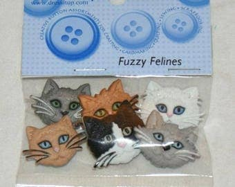 Set of 6 novelty buttons - cats.