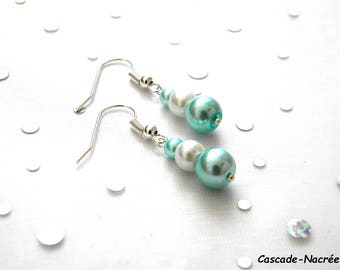 clear white silver bridal wedding Pearl Pearly blue earrings
