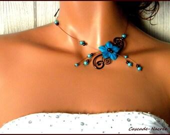 wedding necklace bridal turquoise chocolate Margot aluminum bead