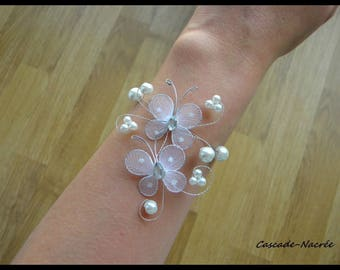 Jewelry Butterfly Tiphaine white wedding flower silver Pearl bridal bracelet