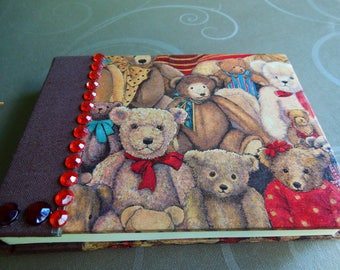 Teddy notebook with red rhinestones