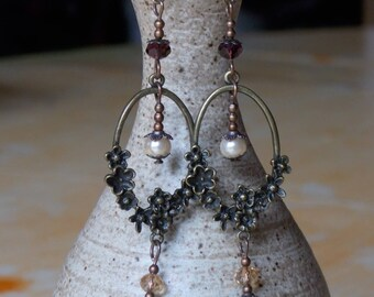 Sepia crystal earrings Brown and bronze