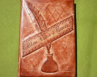 """My book of hours"" blank book bound in hand tooled leather"