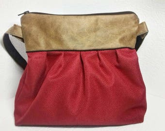 RUFFLED bag faux leather red and distressed