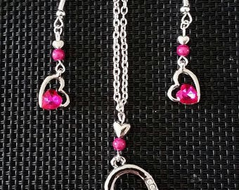 """Set Earrings + Necklace """"Fuschia heart"""""""