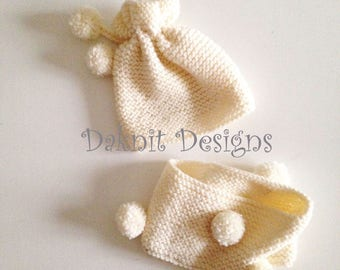 Babies hat and neckwarmer - 12 months - made to order