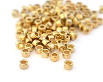 30 washers beads gold large hole acrylic 6x4mm