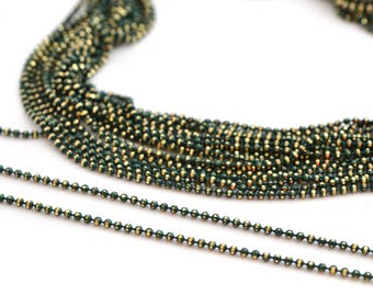 chain 50cm 1.2 mm metal dark green and gold beads