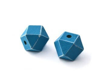 2 polygons blue and white 20mm wooden beads